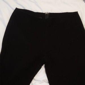 Black flat front wool pants